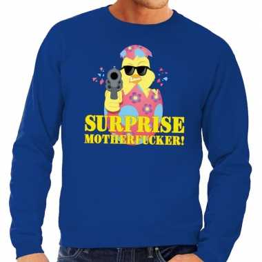 Foute paas sweater blauw surprise motherfucker heren