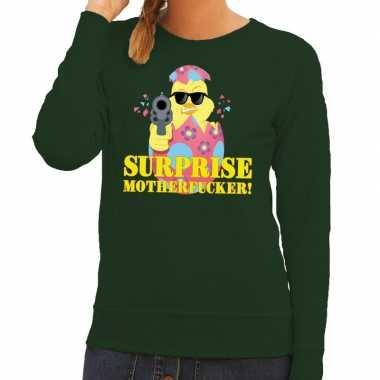 Foute paas sweater groen surprise motherfucker dames