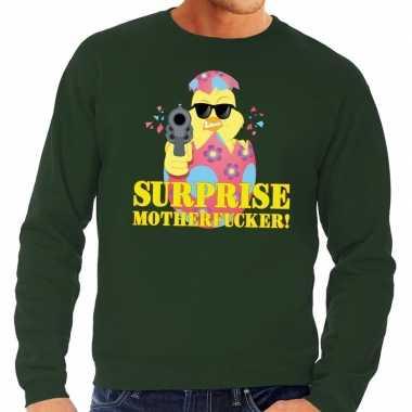 Foute paas sweater groen surprise motherfucker heren