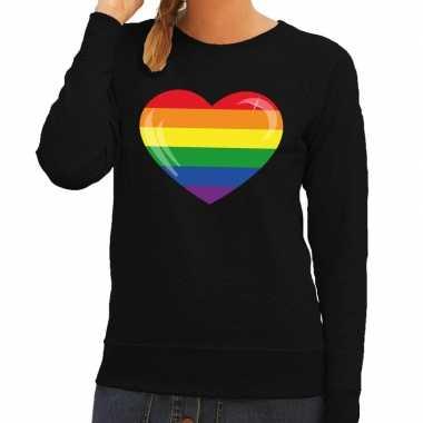 Gay pride regenboog hart sweater zwart dames