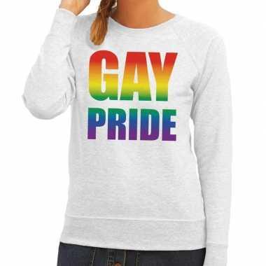 Gay pride regenboog tekst sweater grijs dames