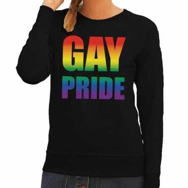 Gay pride regenboog tekst sweater zwart dames