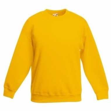 Gele katoenmix sweater meisjes