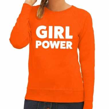 Girl power tekst sweater oranje dames