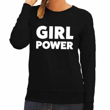 Girl power tekst sweater zwart dames