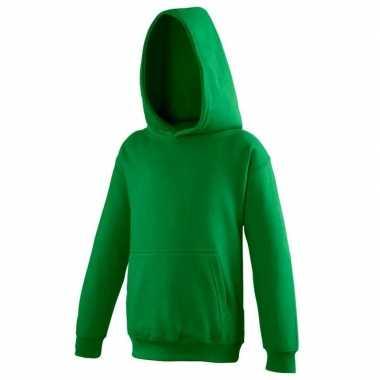 Gras groene katoenmix sweater capuchon jongens