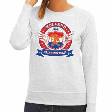 Grijs holland drinking team sweater dames