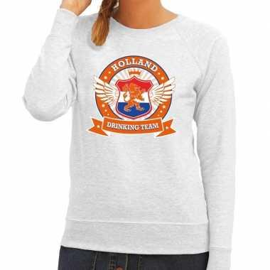 Grijs holland drinking team sweater grijs dames