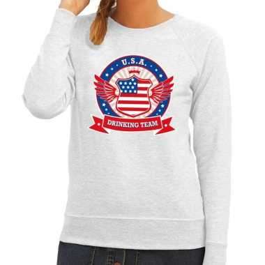 Grijs usa drinking team sweater dames