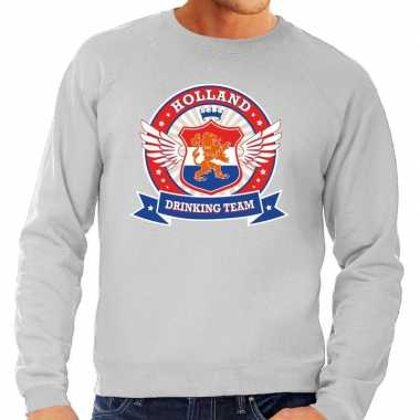 Grijze holland drinking team rwb sweater heren
