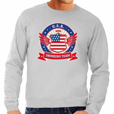 Grijze usa drinking team sweater heren
