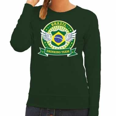 Groen brazil drinking team sweater dames