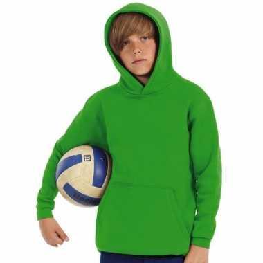Groene katoenmix sweater capuchon jongens