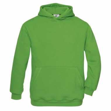 Groene katoenmix sweater capuchon meisjes