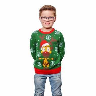Groene kersttrui rendier kinderen