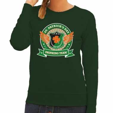 Groene st. patricks day drinking team sweater dames