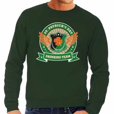 Groene st. patricks day drinking team sweater heren