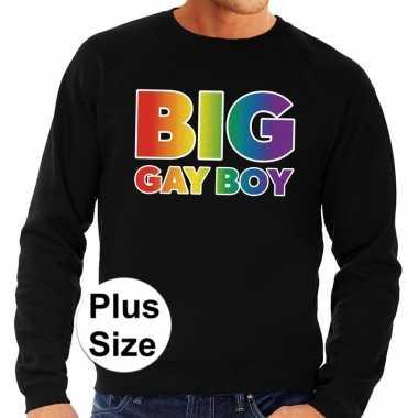 Grote maten big gay boy regenboog sweater zwart heren