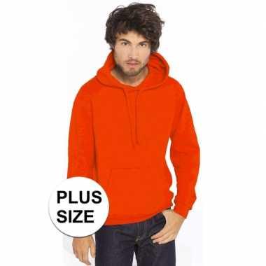 Grote maten oranje sweater/trui hoodie heren