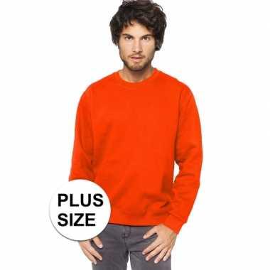 Grote maten oranje sweater/trui katoenmix heren