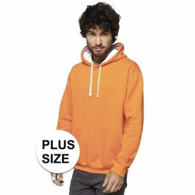 Grote maten oranje/witte sweater/trui hoodie heren