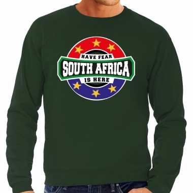 Have fear south africa is here zuid afrika supporter sweater groen heren