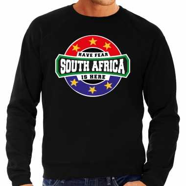 Have fear south africa is here zuid afrika supporter sweater zwart heren