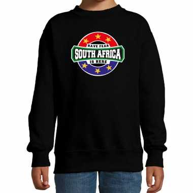 Have fear south africa is here zuid afrika supporter sweater zwart kids
