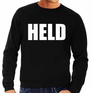 Held tekst sweater / trui zwart heren