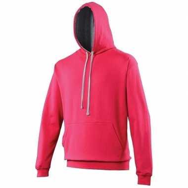 Hooded sweater roze grijs