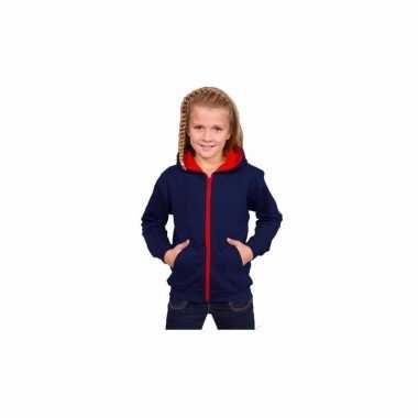 Hooded sweater vest navy rood meisjes