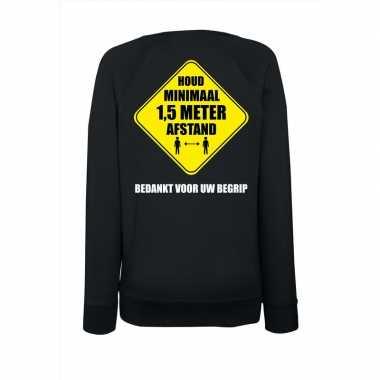 Houd meter afstand bedankt sweater zwart dames