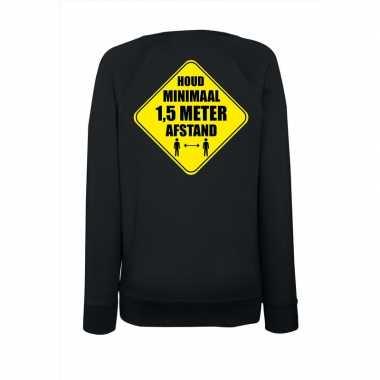 Houd meter afstand sweater zwart dames