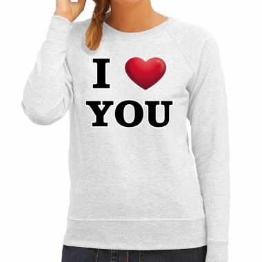 I love you valentijn sweater grijs dames