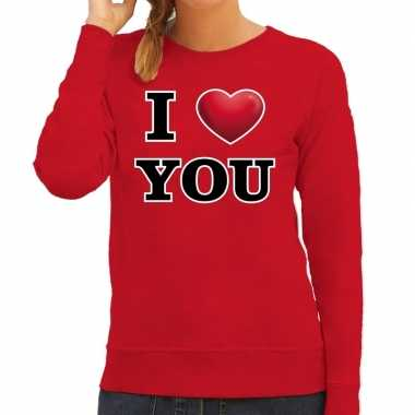 I love you valentijn sweater rood dames