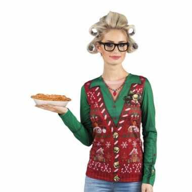 Kerst shirt kerst gilet opdruk dames