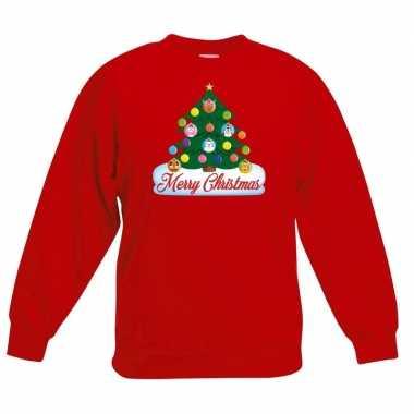 Kersttrui dieren kerstboom rood kinderen