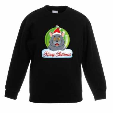 Kersttrui merry christmas grijze kat / poes kerstbal zwart kinde