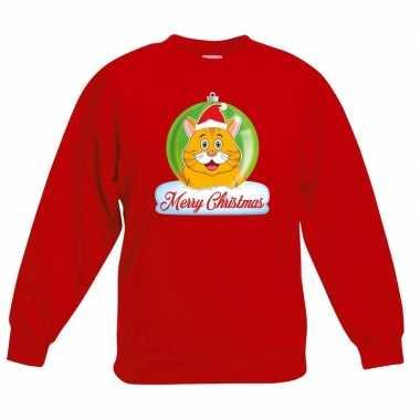 Kersttrui merry christmas oranje kat / poes kerstbal rood kinde