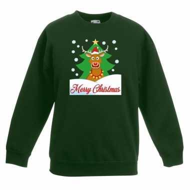 Kersttrui merry christmas rendier groen kinderen