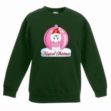 Kersttrui roze eenhoorn kerstbal groen meisjes