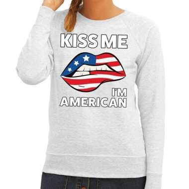 Kiss me i am american sweater grijs dames