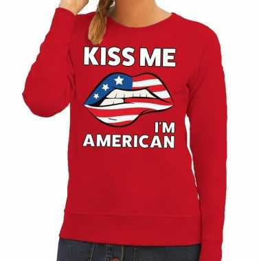 Kiss me i am american sweater rood dames