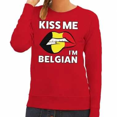 Kiss me i am belgian sweater rood dames