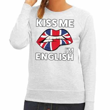 Kiss me i am english sweater grijs dames