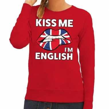 Kiss me i am english sweater rood dames