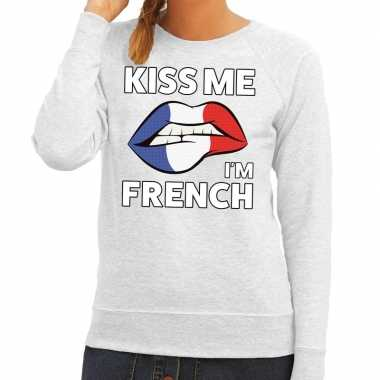 Kiss me i am french sweater grijs dames