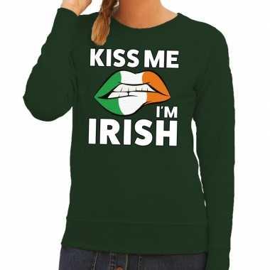 Kiss me i am irish sweater groen dames