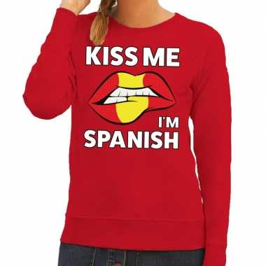 Kiss me i am spanish sweater rood dames