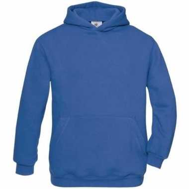 Kobaltblauwe katoenmix sweater capuchon j